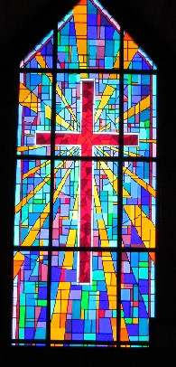 Now They Have A Leaded Cathedral Glass Window With Recognizable Cross And Lot Of Complementary Colors The Anodized Aluminum Frame