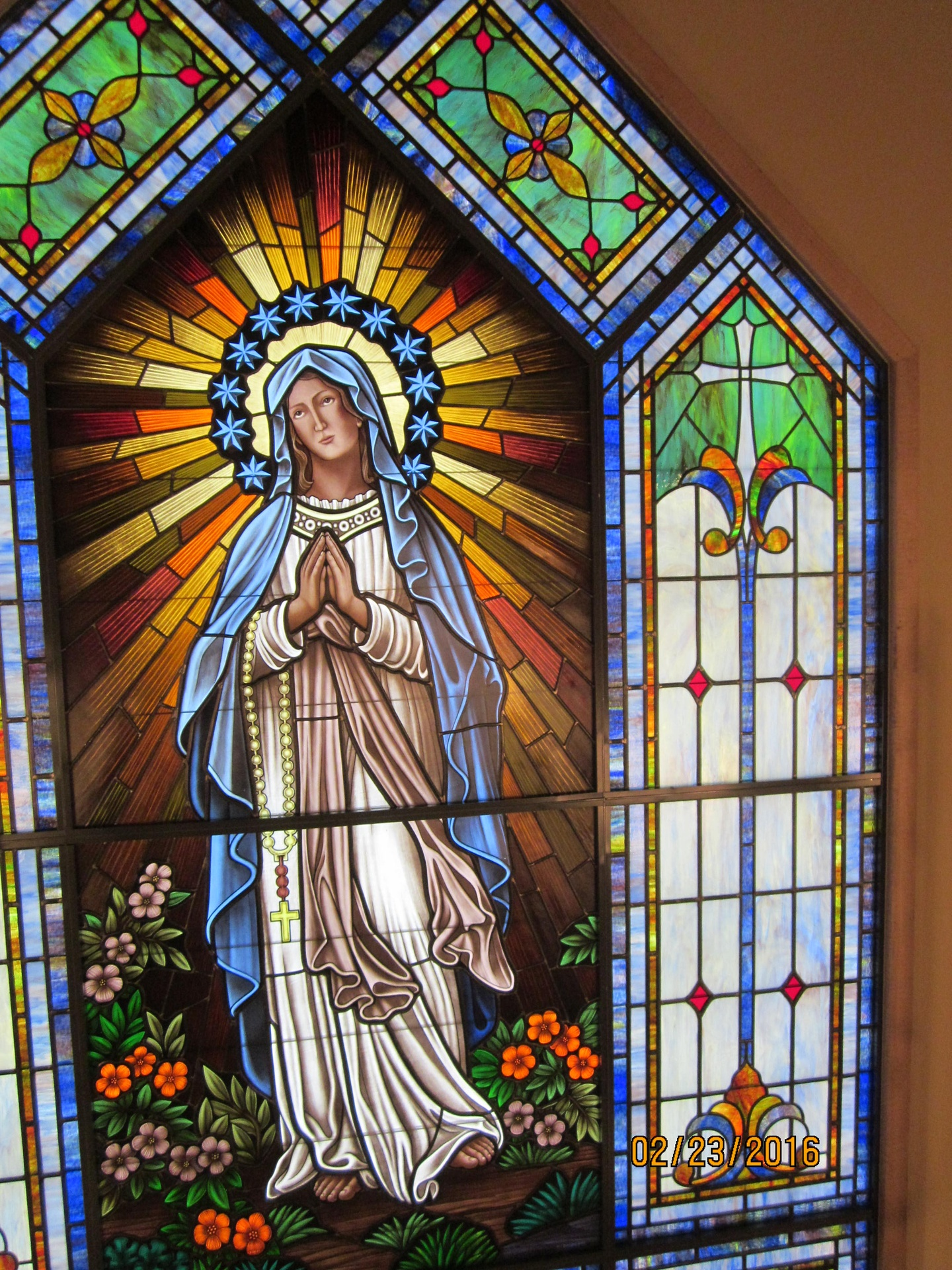 Stained Glass Window At Our Lady Of The Mountain Catholic Church In Long Valley NJ
